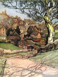 ۩۩ Painting the Town ۩۩ city, town, village & house art - John Ruskin Art And Illustration, Landscape Art, Landscape Paintings, John Ruskin, Scenery, Art Gallery, Photos, Pictures, Sketches