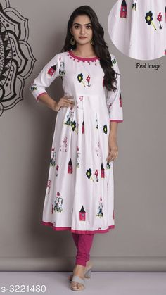 Checkout this latest Kurtis Product Name: *Women's Printed White Rayon Kurti* Fabric: Rayon Sleeve Length: Three-Quarter Sleeves Pattern: Printed Combo of: Single Sizes: M (Bust Size: 38 in, Size Length: 48 in)  L (Bust Size: 40 in, Size Length: 48 in)  XL (Bust Size: 42 in, Size Length: 48 in)  XXL (Bust Size: 44 in, Size Length: 48 in)  Easy Returns Available In Case Of Any Issue   Catalog Rating: ★4.1 (19030)  Catalog Name: Women'S Printed Rayon Kurtis CatalogID_443815 C74-SC1001 Code: 253-3221480-2601