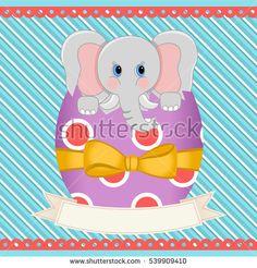 Easter elephant inside egg with banner