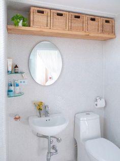 Dica de organização para o banheiro – Otimização de espaços – Prateleira superior
