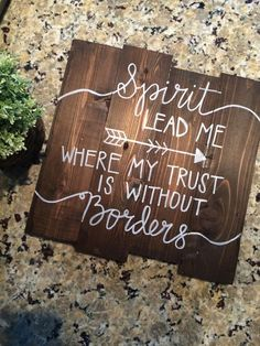 "Hillsong ""Oceans"" Wood Sign \\ Rustic Home Decor \\ Wall Hanging \\ Spirit Lead Me Where My Trust is Without Borders by FaithandFrills on Etsy https://www.etsy.com/listing/202250267/hillsong-oceans-wood-sign-rustic-home"
