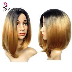 Ombre tổng hợp tóc giả giá rẻ tóc giả tóc vàng ngắn tổng hợp sexy nữ ngắn haircut tóc Đẹp tự nhiên tìm kiếm phụ nữ tóc giả cosplay