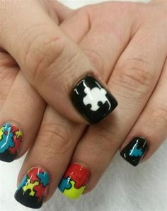 Day 57: Puzzle Piece Nail Art - - NAILS Magazine