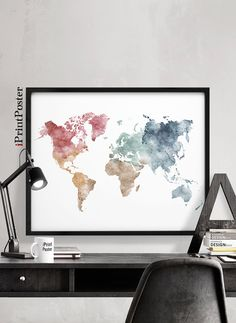 World map print chalkboard art print poster world map world map world map print large world map pastel by iprintposter gumiabroncs Gallery
