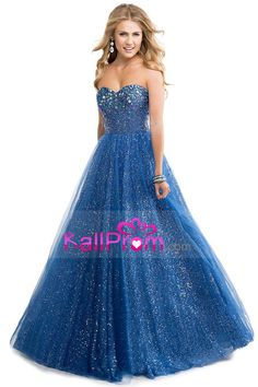 2014 Prom Gown Embellished With Beads&Sequince Tulle Sweetheart Floor Length Corset