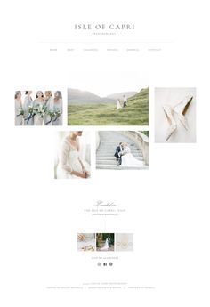 Website design inspiration for photographers. Inspired by our recent visit to the Amalfi Coast, this minimalistic theme features elegant typography, ample white space and plenty of opportunities to show off your work! Drag and drop website builder Showit via Davey & Krista