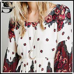 Sheinside Фирменная модная женская одежда Новое высококачественное ретро платье Desigual с длинным рукавом в винтажном стиле с принтом и открытой спиной, принадлежащий категории Платья и относящийся к Одежда и аксессуары для женщин на сайте AliExpress.com   Alibaba Group