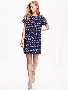 Printed Linen-Blend Cocoon Dress for Women | Old Navy