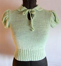 """Amelia"" - a cute pale green 30s style jumper"