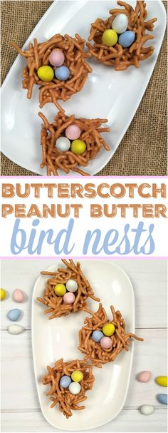 These easy butterscotch haystacks desserts are perfect Easter nests and so yummy., These easy butterscotch haystacks desserts are perfect Easter nests and so yummy too. A crunchy and creamy peanut butter treat with chocolate eggs in . Mini Desserts, Cute Easter Desserts, Easter Deserts, Easter Snacks, No Egg Desserts, Easter Brunch, Easter Recipes, Holiday Desserts, Chocolate Desserts