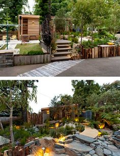 Australian native garden like the rocks trees grass plants