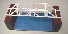 A photograph shows a truss-style straw bridge (Howe-Kingpost design) made of plastic drinking straws and clear tape spanning the gap between two wooden blocks, ready for testing. Bridge Engineering, Engineering Projects, Stem Projects, Science Projects, School Projects, Engineering Science, Math Stem, Stem Science, Science For Kids