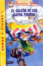 """""""EL GALEÓN DE LOS GATOS PIRATAS"""" de Gerónimo Stilton, Editorial Destino. En esta aventura, Geronimo y su familia salen en busca de la misteriosa Isla de Plata, cuya ubicación siempre es diferente. Pocos días después de volar en globo, descubren un punto luminoso en el océano, que irradia una luz particular. Convencidos de que se trata de la famosa isla, pronto se dan cuenta que han caído en el galeón de plata de los piratas más felinos del mar. ¿Estás preparado para vivir esta marítima aventura?"""