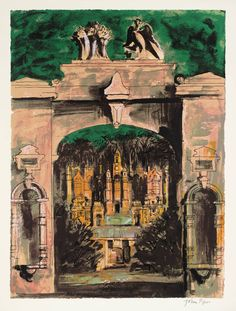 John Piper - Harlaxton through the Gate, From Victorian Dream Palaces, 1977, Screenprint on paper.