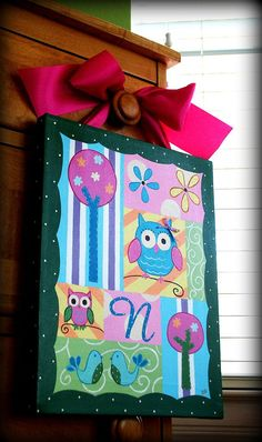 OWL WHIMSY 11x14 custom canvas painting