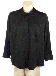 296e197bd4a Womens CJ Banks Button Down Shirt Plus Size 3X Black on Black Pattern Long  Slv