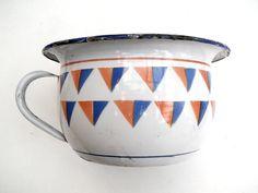 Antique French enamelware Chamber pot  colorful enamel art deco