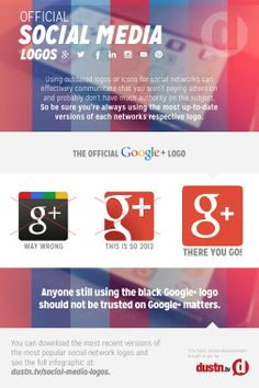 Official Social Media Logos - A Google+ exclusive mini-infographic version!