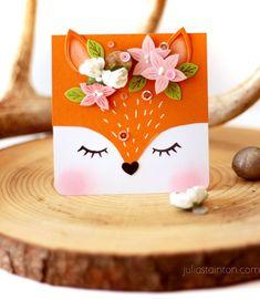 How to Create a Fox Card - Belle Papier Sweet Fox Card by Julia S. - How to Create a Fox Card – Belle Papier Sweet Fox Card by Julia Stainton featuring - Kids Birthday Cards, Handmade Birthday Cards, Greeting Cards Handmade, Birthday Wishes, Art Birthday, Birthday Greetings, Birthday Gifts, Tarjetas Diy, Flower Stamp