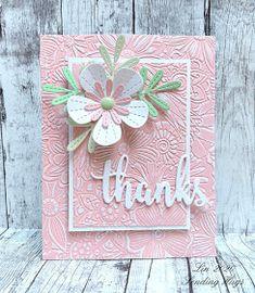 Sending Hugs: Embossed Thanks Handmade Thank You Cards, Beautiful Handmade Cards, Handmade Greetings, Karten Diy, Sending Hugs, Embossed Cards, Die Cut Cards, Cricut, Card Kit