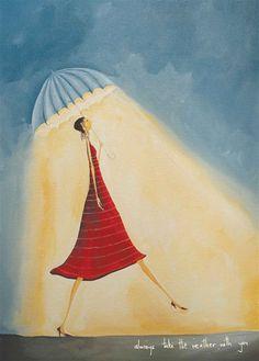 Greeting Cards NZ - Artwork by New Zealand artist Crispin korschen Umbrella Art, Under My Umbrella, Art For Art Sake, Illustration Girl, Whimsical Art, Art Forms, New Zealand, Artsy, Greeting Cards