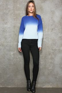 LMSM X UO Blue Dip-Dye Cropped Sweater