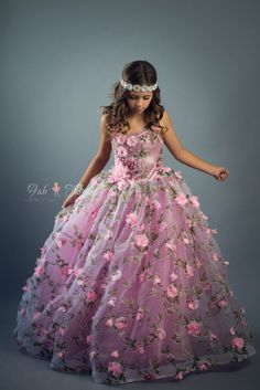 Mauve Rose Dress by FabTutus - 3d rosette / petal tutu dress with organza skirt, sweetheart bodice and flowers in mauve and pink