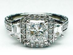 Radiant Diamond Engagement Ring Trapezoids sides vintage Pave in 14K White Gold