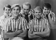 American rock group The Beach Boys, 1964. From left to right, Carl Wilson, Dennis Wilson, Mike Love, Al Jardine and Brian Wilson. From Capitol Records.