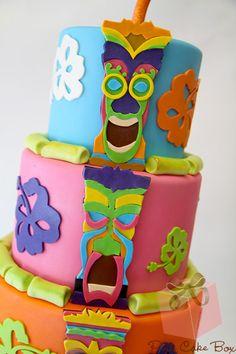 Luau and Tiki Birthday Cake | http://blog.pinkcakebox.com/luau-and-tiki-birthday-cake-2012-08-29.htm