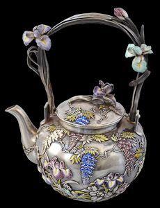 Enamel & Silver Tea Service Sealed Musashiya and Signed Masazane Japan, Meiji Period, late 19th century