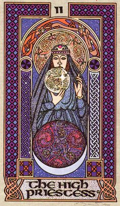 The High Priestess - Celtic Tarot by Courtney Davis & Helena Paterson. This card symbolizes one of the stages of the Fool's Journey towards self-discovery. The Fool stands for all of us. For more information, visit me at: * Whimsy but Wise *. Celtic Tarot, Tarot Cards Major Arcana, Courtney Davis, Celtic Goddess, Oracle Tarot, Tarot Learning, Alien Art, Tarot Spreads, Album