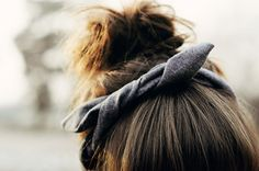A cute headband for a simple bun with soft bangs. Brunette model, but works for any hair color.