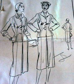 LOVELY VTG 1950s SUIT DRESS VOGUE Sewing Pattern 18/36 FACTORY FOLDED