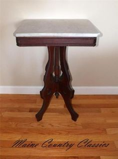 Antique VICTORIAN MARBLE TOP PARLOR TABLE Walnut Base Lamp Stand EX. SHIP  RATES