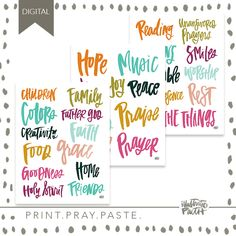 2017 Brush Script Gratitude Documented Prompts | Bible Journaling Printable Ephemera by Illustrated Faith Brush Script, Faith Bible, Attitude Of Gratitude, Illustrated Faith, Scripture Art, Coordinating Colors, Prompts, Peace, Lettering