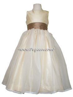 ANTIQUA TAUPE AND BUTTERCREME CUSTOM FLOWER GIRL DRESSES STYLE 326 BY PEGEEN.COM