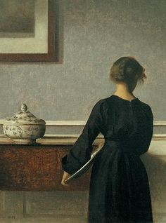 Vilhelm Hammershoi [Danish Painter, 1864-1916] Interior with Young Woman from Behind or Young Woman from Behind.