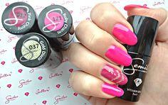 Immenseness bloguje! : Walentynkowy manicure z Semilac: 121 Ruby Charm, 012 Pink Cherry oraz 037 Gold Disco.