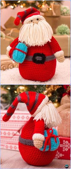 Crochet Huggable Santa Pillow - migurumi Crochet Christmas Softies Toys Free Patterns