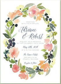 Watercolor wreath wedding invitation from Minted