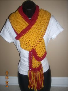 School Spirit Scarf PDF Crochet Pattern STRIPED Easy ...