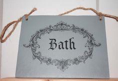 Vintage Türschild Bad Holzschild shabby bathroom von Nostalgie Gretel häkelt und schenkt auf DaWanda.com