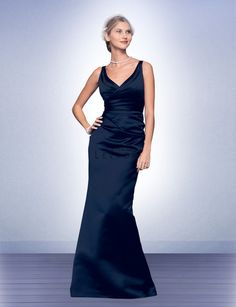 Blue and White Wedding Ideas - Bill Levkoff 526 Satin V-Neckline Mermaid Bridesmaid Dress