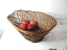 Large basket rustic French vintage wicker by vintagefrenchdream
