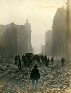 "San Francisco's Market Street after the earthquake, 1906.  W.J. Street. S * ""Dear Unknown Friend; sa..."