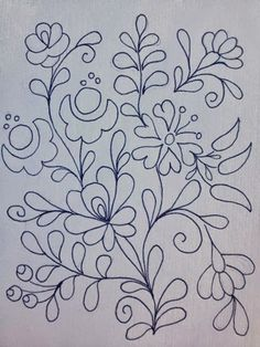 Embroidery Design by Rita Barton: Painted Hungarian Folk Art Flowers @ ritaba . Mexican Embroidery, Hungarian Embroidery, Learn Embroidery, Crewel Embroidery, Cross Stitch Embroidery, Embroidery Letters, Simple Embroidery, Embroidery Flowers Pattern, Flower Patterns