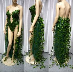 Poison Ivy Monokini Gown with Train Costume Cosplay Dance Costume Rave Bra Rave Wear Halloween Burle costume design Poison Ivy Cosplay, Poison Ivy Kostüm, Poison Ivy Costumes, Poison Ivy Dress, Poison Ivy Makeup, Poison Ivy From Batman, Costume Halloween, Cool Costumes, Cosplay Costumes