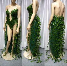 Poison Ivy With Ivy Train Costume, Halloween Costume, Monokini, Fairy Costume, Cosplay, Comicon, Batman Dress Gown
