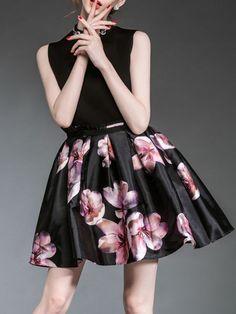 Paneled Floral Print Mini Dress